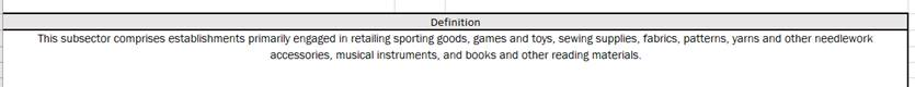 Definition of a subsection of North American Industry Classification System codes shown in Microsoft Excel